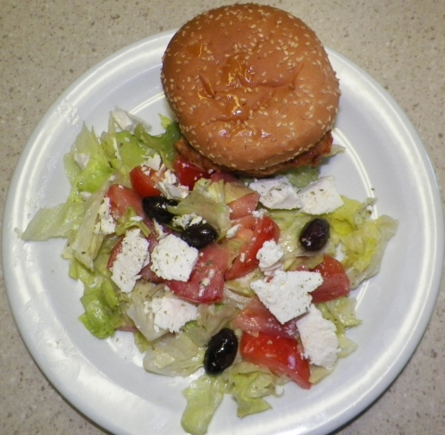 fishburger and               salad